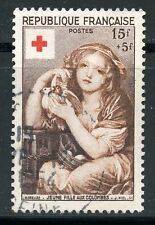 STAMP / TIMBRE FRANCE OBLITERE CROIX ROUGE  N° 1007 JEUNE FILLE AUX COLOMBES
