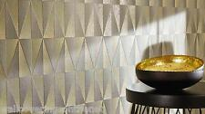 Mottled Grey & Gold, Geometrical / Triangle Design, Paste the Wall Wallpaper