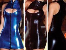 black blue women sexy Wet Look Vinyl PVC leather Clubwear Costume Dress