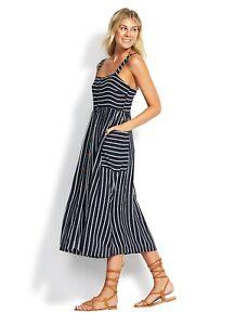 Seafolly Stripe Button Through Midi Dress Indigo Size small bnwt