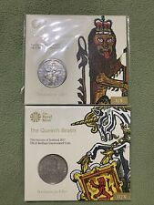 Royal Mint Queens Beast 2 Uncirculated Coins Lion Unicorn Silver Gold