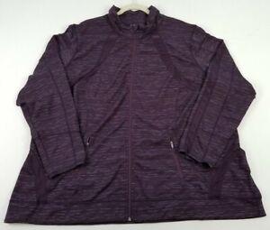 Avenue Women's Long Sleeve Activewear Jacket 26 28 Purple Space Dye Full Zipper