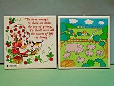 2 RUBBER FOOTED CERAMIC TILE TRIVETS COUNTRY FARM PIG W PIGLETS &GIRL DOG JASCO