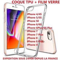 Coque Housse Etui Gel Silicone iPhone 5/6/7/8/S/Plus + film verre trempé ecran