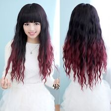 Harajuku Black Red Colored Costume Wig Long Curly Wavy Gradient Cosplay Hair