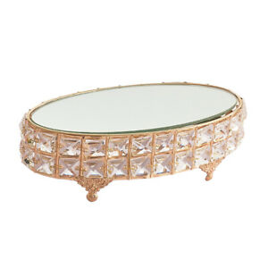 Oval Mirror-top Cake Stand Cupcake Fruit Dessert Tray Crystal Metal Pedestal