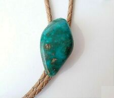 VTG Turquoise Nuggett Bolo-Tie w/ Tan Leather Cord matching Silver tips