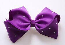 Purple  Hair Bows Girls Diamante Hair Clip Accessories 20cm QAZ89