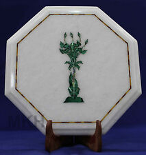 Side Table Top White Marble Inlay Work  Mosaic Vintage Coffee tables Furniture