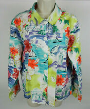Coldwater Creek M Womens Blouse LS Blue White Yellow Floral Button Down Front
