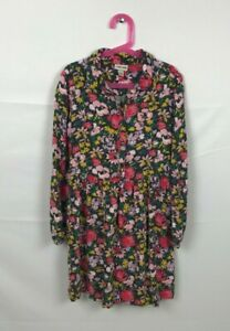 Cherokee Girl Dress Casual Sz L (10-12) Floral Long Sleeve Buttons Floral