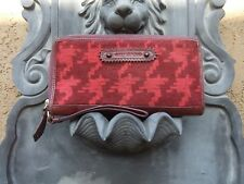 "Juicy Couture Maroon Fabric & Leather Wristlet Clutch Purse Bag - 9"" x 5"""