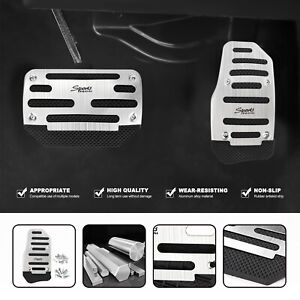 Universal Silver Non Slip Automatic Gas Brake Foot Pedal Pad Cover Car Part Set