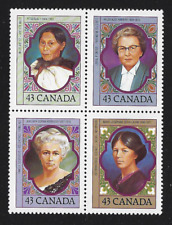 Canada Stamps — Block of 4 — 1993, Prominent Women #1456-59 (1459a) — MNH