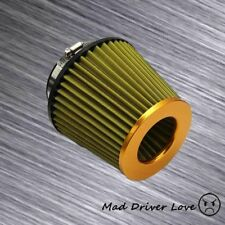 """3"""" W/ 2.5"""" REDUCER HIGH FLOW COLD INLET ROUND CONE AIR FILTER GOLD & YELLOW MESH"""