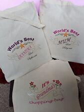 Personalised WORLD S BEST Mum Nan Grandma Teacher TOTE Cotton shopping Bag b54c5e6c111