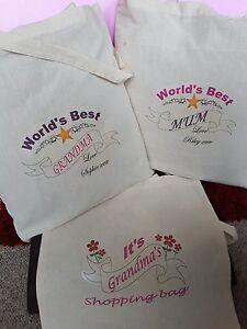 Personalised WORLD'S BEST Mum Nan Grandma Teacher Mothers Day TOTE Cotton Bag