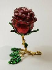 Rose (4-inch) Enamel Bejeweled Crystal Jewelry Trinket Box - NIB