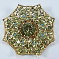 Vintage Signed BSK Rhinestone Spider Web Pin Brooch Great for Halloween