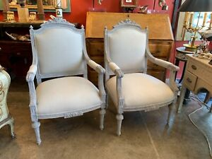 Pair Luxurious French Antique Louis XIV Carved & Gray Refinished Reupholistered