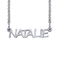 Signature All Capitals Name Necklace in Sterling Silver 925 (USA Seller)