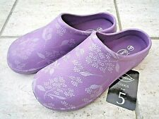 NEW Burwood lilac garden CLOGS with flower patterns -Size 5 UK - Made by Briers.