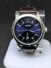 Geneva Mens Kh8079 Silver Tone Blue Dial Analog Watch #3