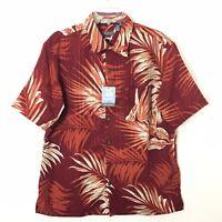 NWT Van Heusen Mens Large Red Floral Short Sleeve Hawaiian Button Front Shirt