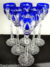 "6 Faberge Czar Imperial Cobalt Blue Cased Cut To Clear 10 5/8 "" Wine Goblets"