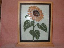 Handmade Art Sandblast Sunflower Lighted Display Gift  Marble Curio