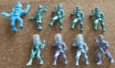 Vintage 1950's Ajax Archer Space Figure Spaceman Marx Plastic Lot of 9 & Helmets