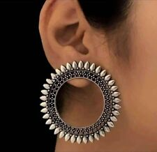 Oxidized German Silver Handmade Big Statement Open Circle Studs Jhumka Earrings