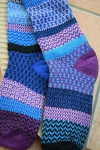 Recycled Cotton Socks Patterned Mismatched Knee Length Raspberry Blue
