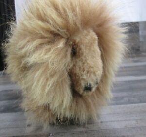 Baby Alpaca Fur Buffalo Plush Stuffed Animal Handmade Brown Horn Standing New