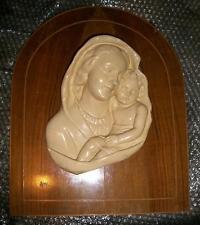 Grande icona metà 900 scultura gesso legno Madonna Bambin Gesù capoletto camera