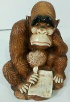 Vintage Resin Wall Girotti Carved Sculptured Art Gorilla Reading Financial Post