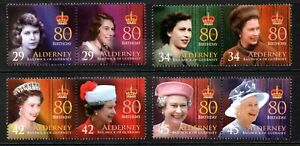 Alderney Stamps 2006 SG A274-A281  80th Birthday of QE II  Mint MNH