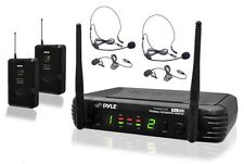 NEW Pyle PDWM3400 UHF Wireless Microphone W/ 2 Lavalier & 2 Headset Microphones