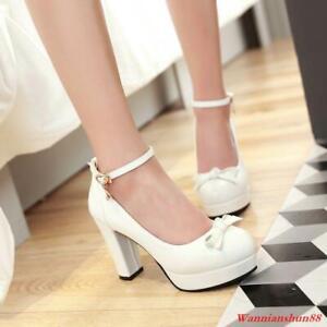 Womens Bowknot High Block Heel Platform Ankle strap Buckle Pumps Dress Shoes