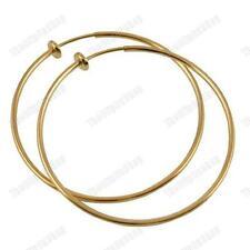 CLIP ON 6cm GOLD TONE POLISHED hoops HOOP EARRINGS look pierced FASHION 60mm