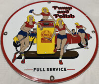 VINTAGE SHELL PIN UP GASOLINE PORCELAIN SIGN GAS STATION PUMP PLATE MOTOR OIL