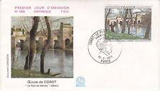 Enveloppe 1er jour FDC n°1008 - 1977 : Oeuvre de Corot Le Pont de Mantes