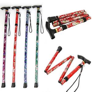 Easy Adjustable Folding Cane Flower Style & Plain Design Walking Stick UK Seller