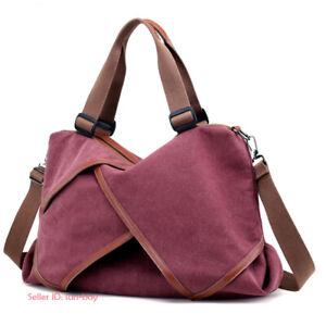 Women Canvas Handbag Large Shoulder Bag Crossbody Tote Purse Messenger Travel