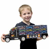 Toy Truck Transport Tractor Trailer Car Collection Carrier Case Truck 6 Cars +