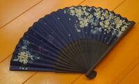 Beautiful Japanese Folding Fan Cherry Blossomes At Night Indigo Sensu