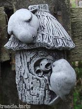Small Bluetits Nesting Wall Plaque-Hand Cast Stone Garden Ornament - 8x7x12 cms