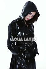 0.8mm Heavy Unisex Fashion Long Rubber Latex Coat Hoodie Jacket