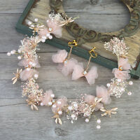 Pink White Silk Flowers Pearls Bridal Garland Tiara Wedding Bride Hair Accessory
