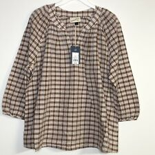 Universal Thread  Size Large Peasant Top Blouse Brown Plaid New $25